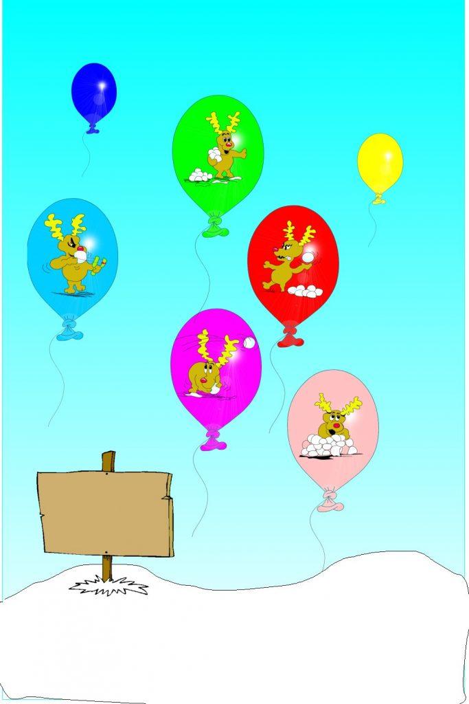 reindeers in balloons